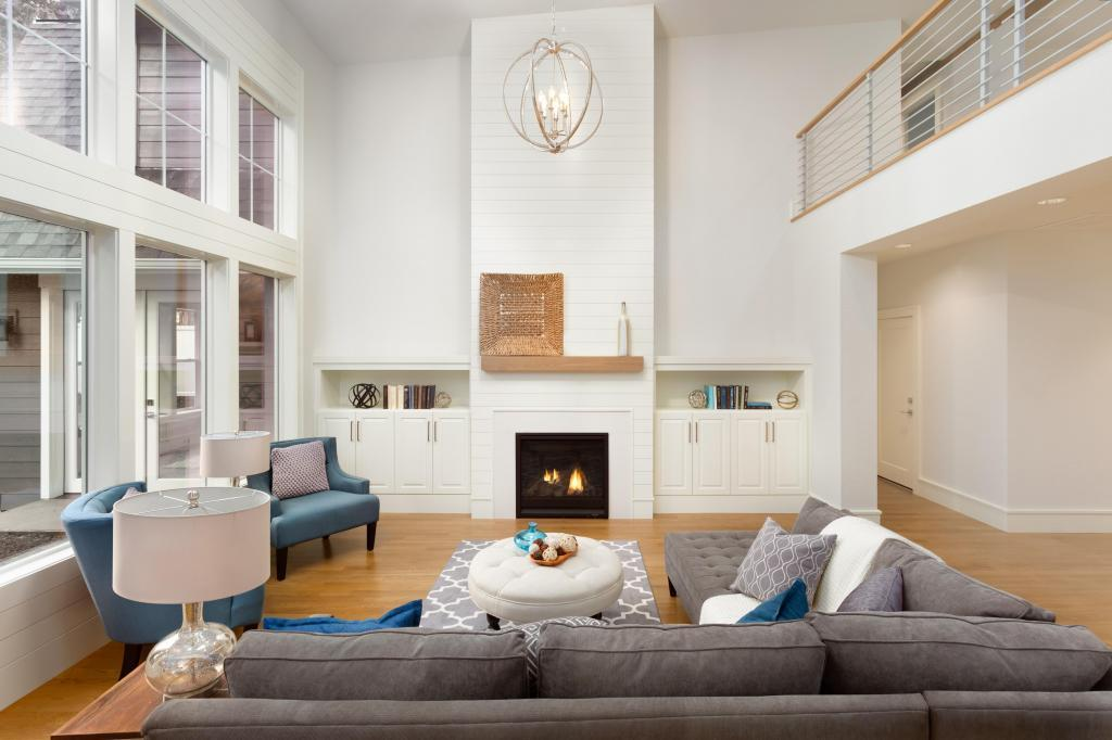 White Walls in Modern Living Room with White Brick Fireplace
