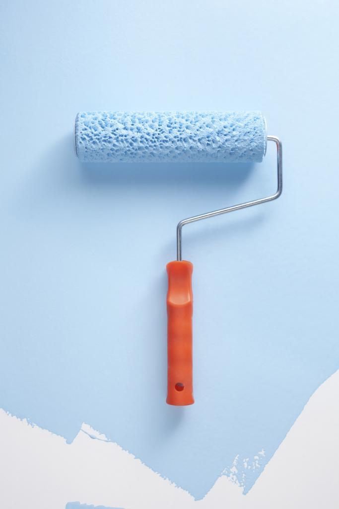 Paint Brush Roller and Baby Blue Paint