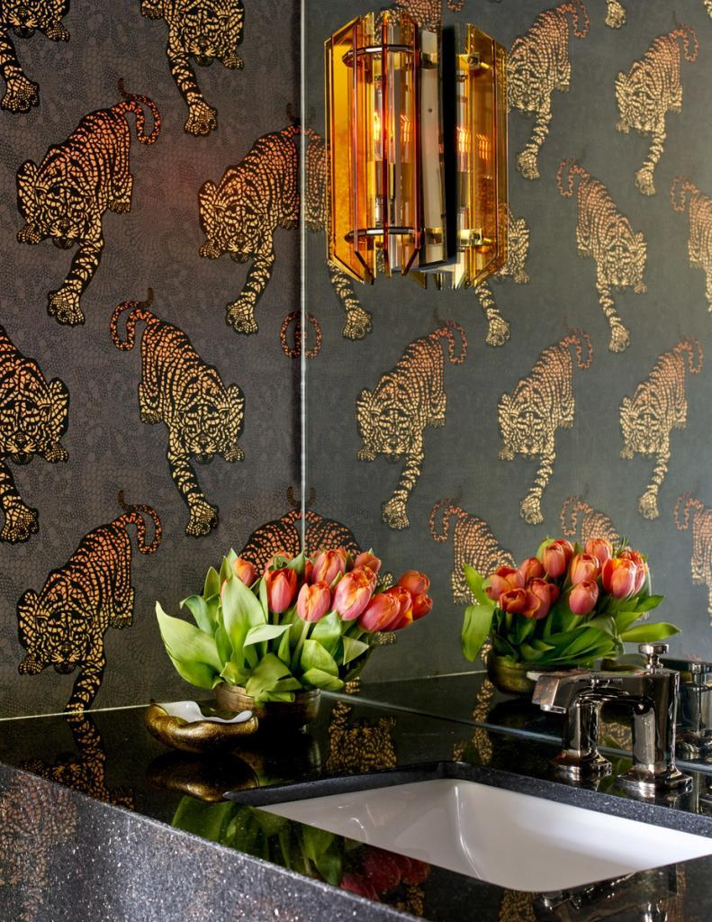 Bathroom with Granite Counter and Tiger Wallpaper