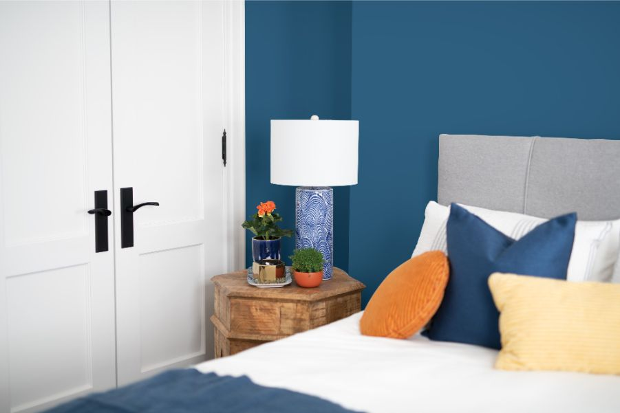 blue bedroom with paint finish