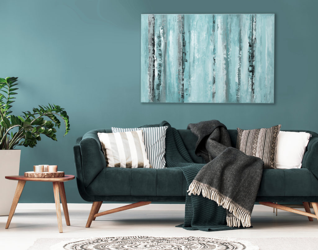 turquoise living room with green couch