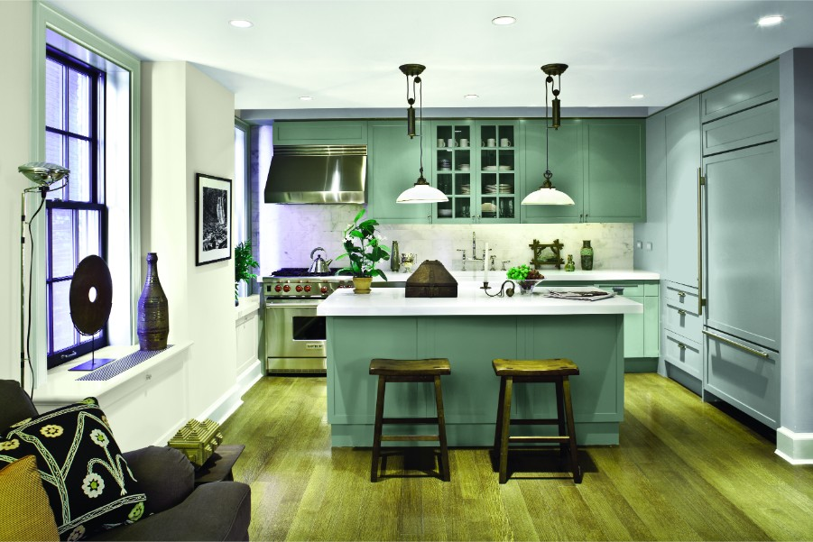 ppg green cabinets kitchen