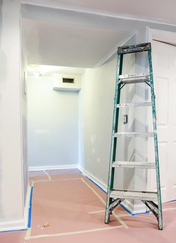 Painting Preparation - Protected Floors and a Ladder