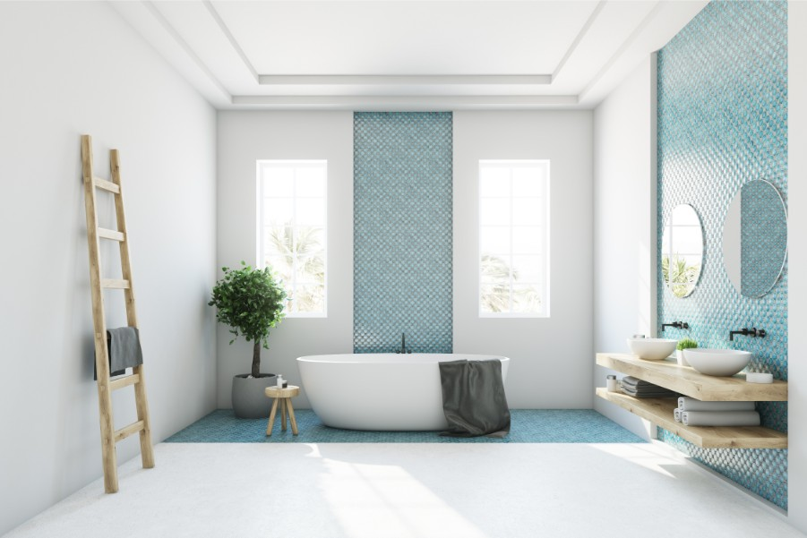 aqua wall tile bathroom