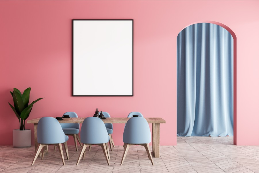 pink dining room blue curtain