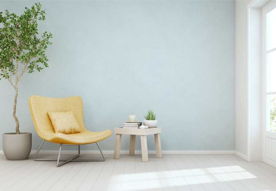 powder blue accent wall sitting nook