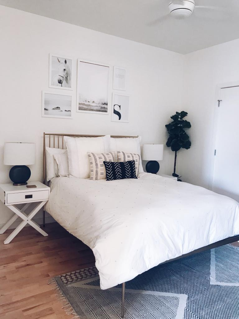 Modern and Minimalist Bedroom - White Walls and White Bed