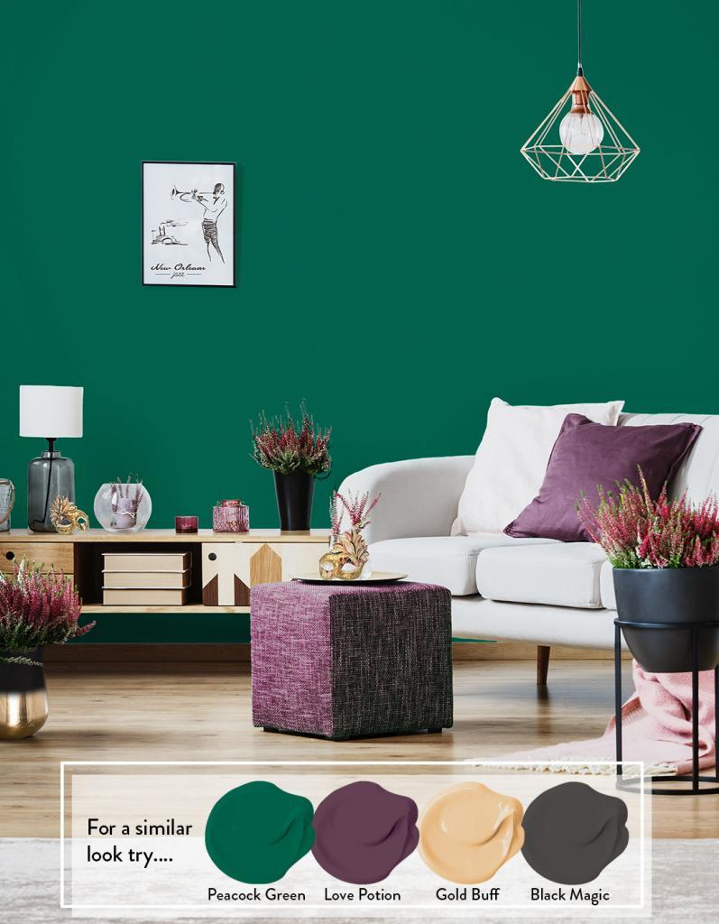 Painted Living Room - Peacock Green, Love Potion, Gold Bluff, Black Magic