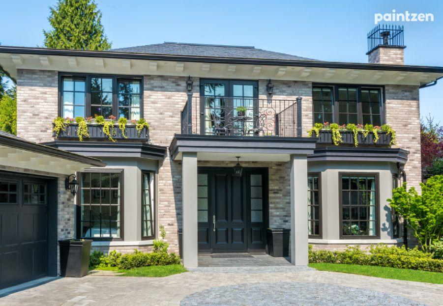 8 Sophisticated Exterior House Colors With Black Windows Paintzen