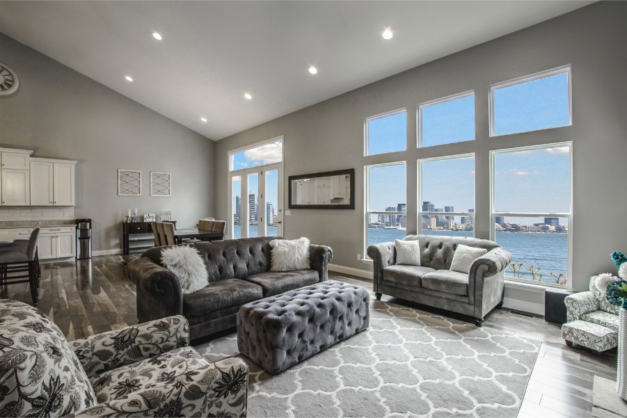 open concept living room gray