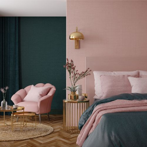 modern pink paint color in bedroom
