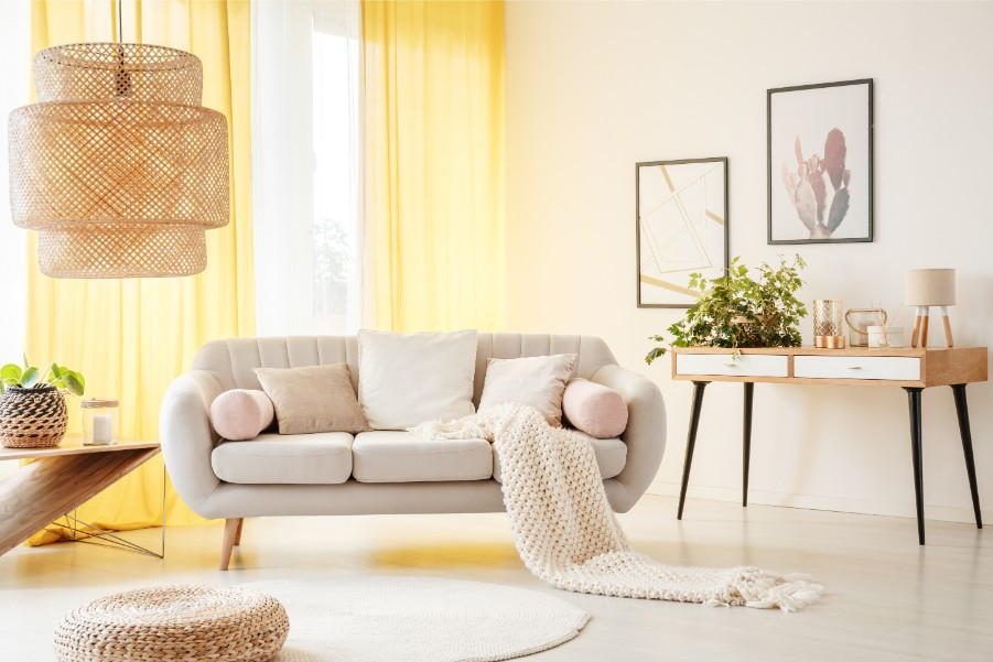 white living room yellow curtains