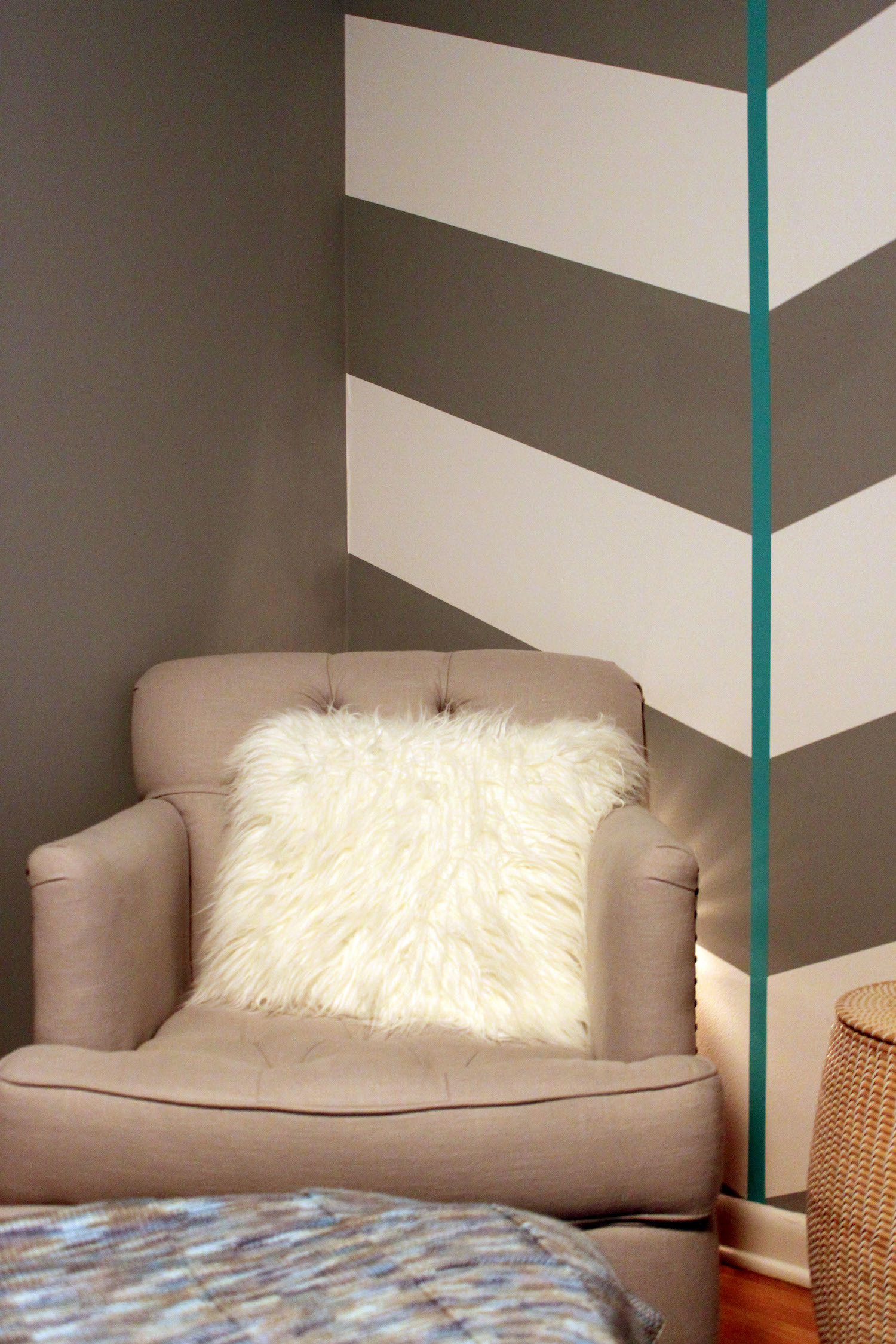 Nursery with Gray and White Chevron Wall with Aqua Stripe