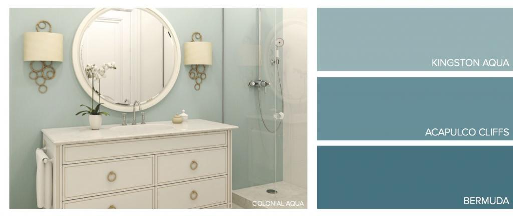 Blue Aqua Samples with Picture of Bathroom