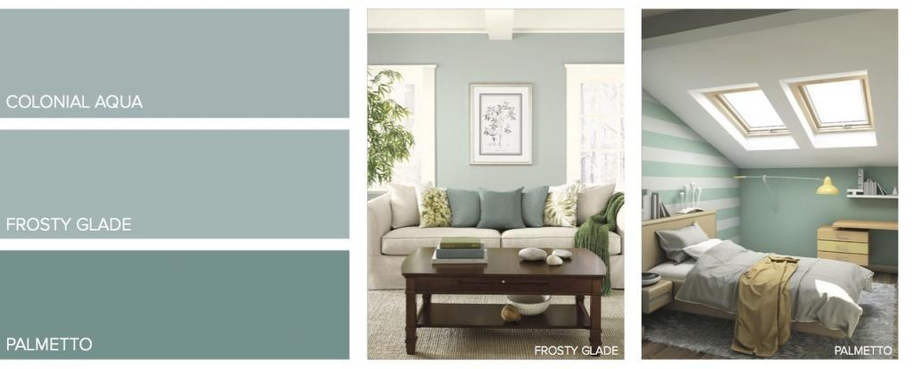 Green Aqua Paint Samples with Pictures of Living Room and Bedroom
