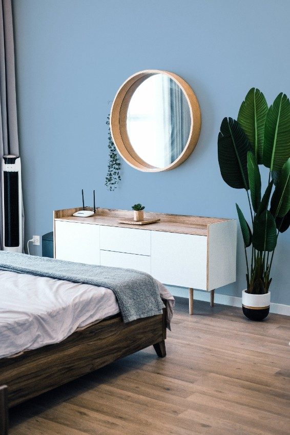 blue bedroom round mirror