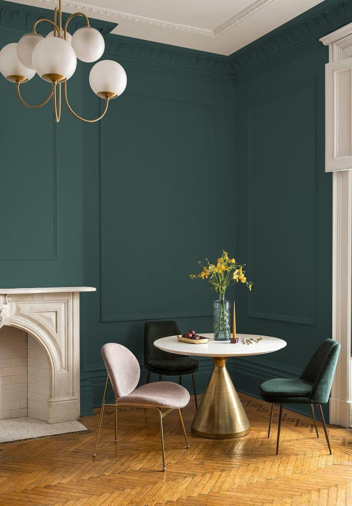 Dining nook painted PPG Night Watch the 2019 Color of the Year