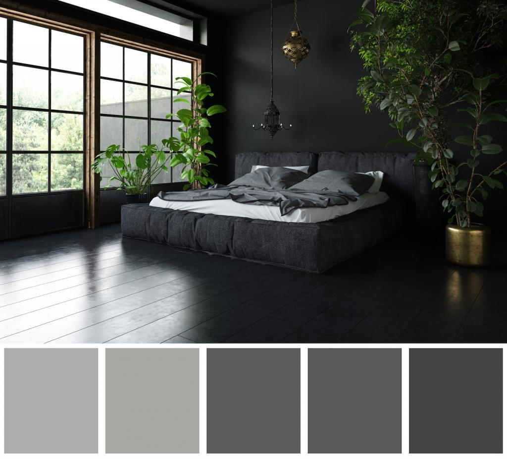 Black Painted Bedroom with Natural Greens