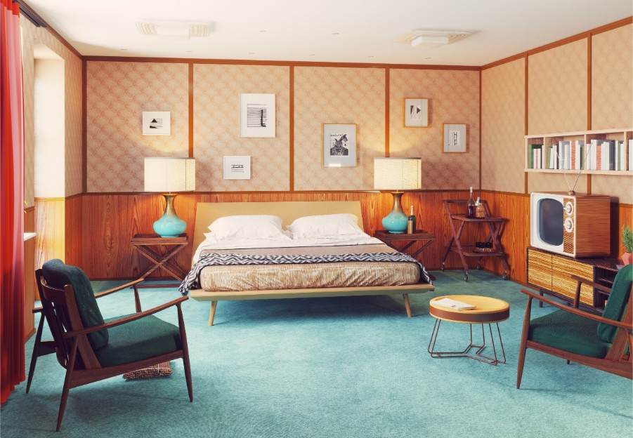 orange retro bedroom