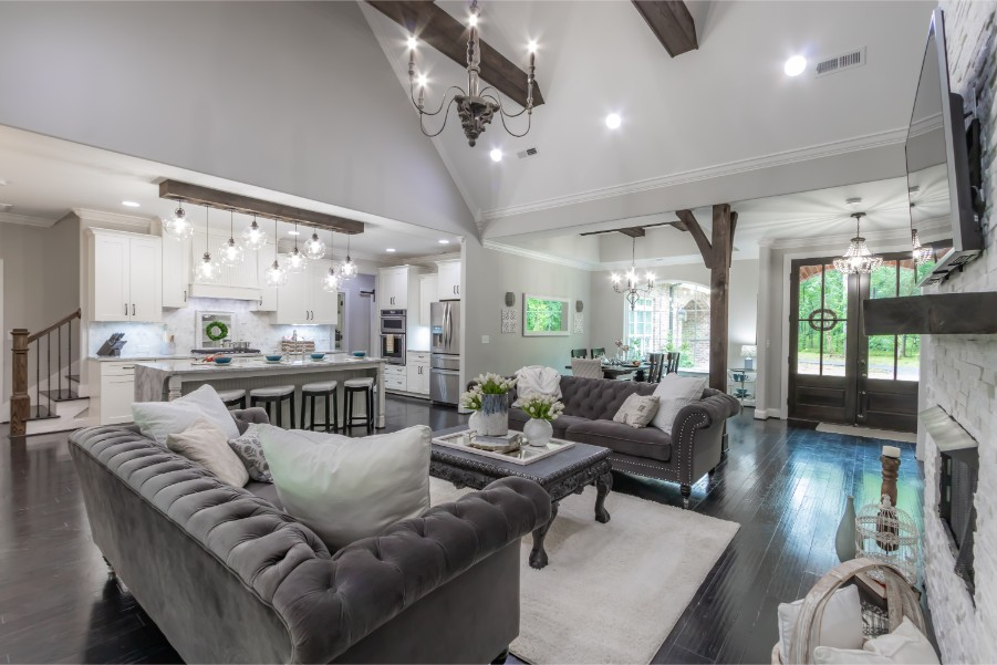 grand open living with cathedral ceilings