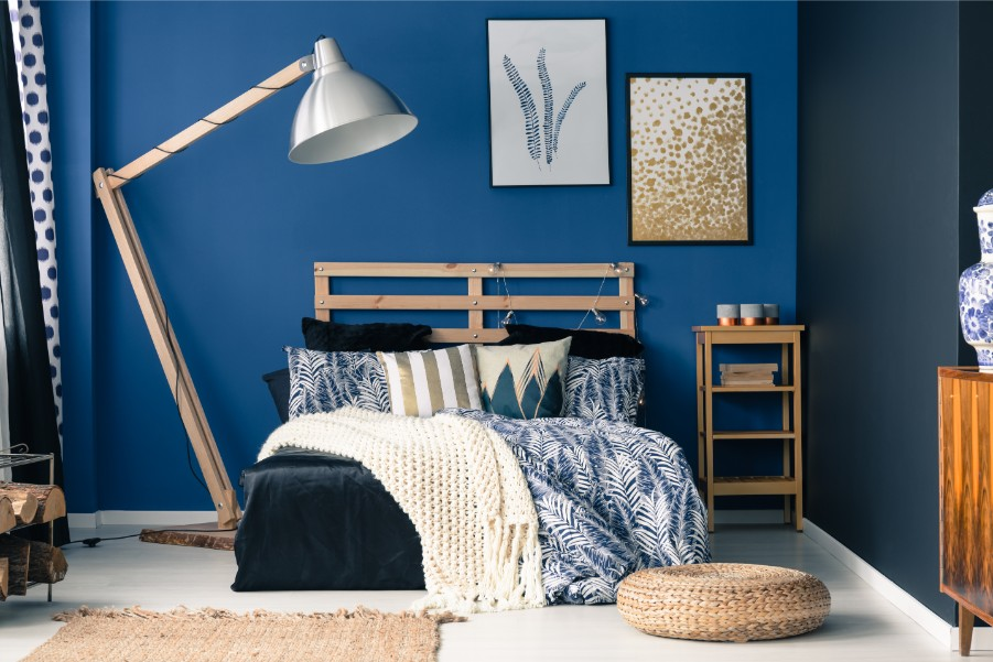 blue bedroom stock wood furniture