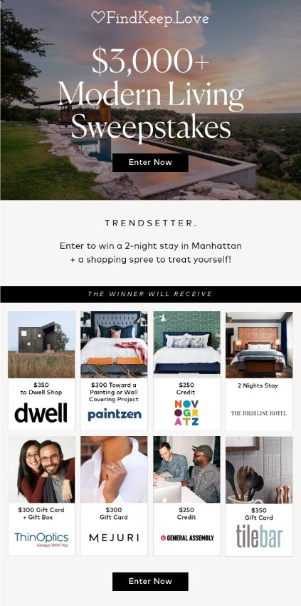 dwell sweepstakes info