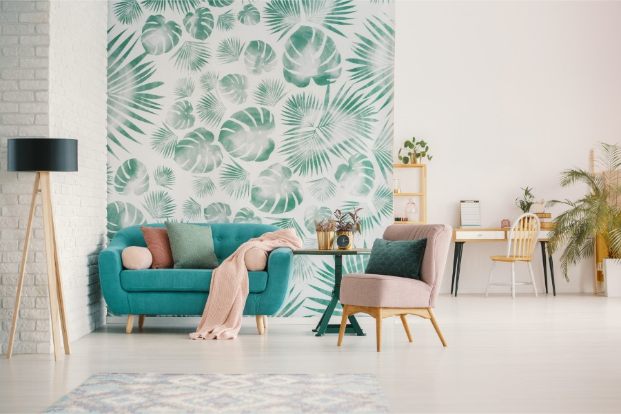 leafy green wallpaper accent wall
