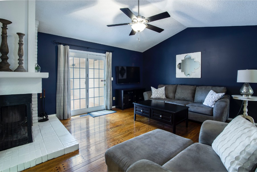 dark blue accent walls