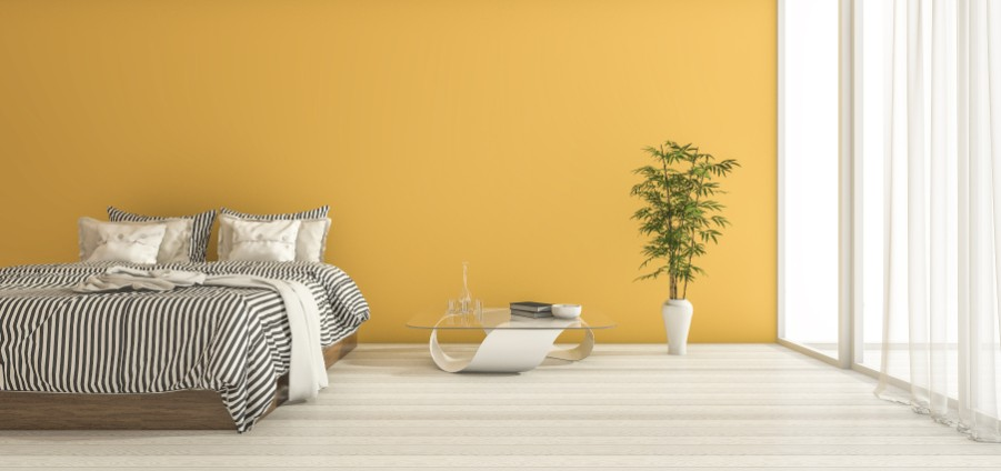 golden yellow bedroom