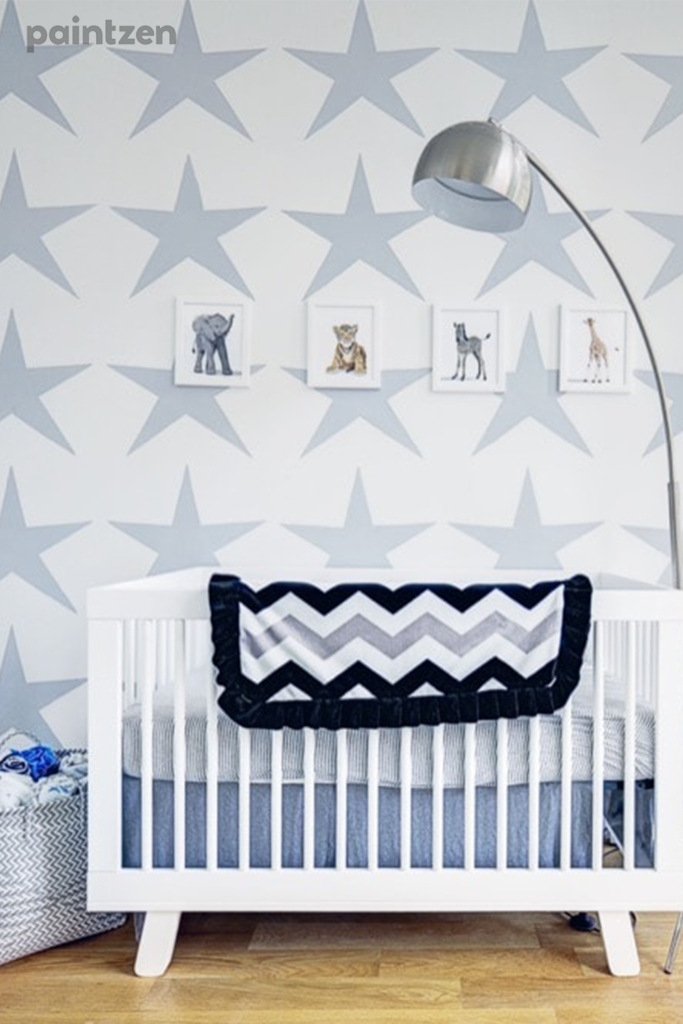 nursery wallpaper with stars - accent wall