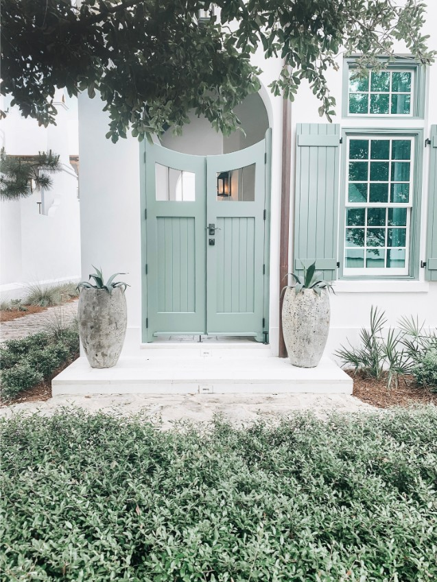 exterior mint green door