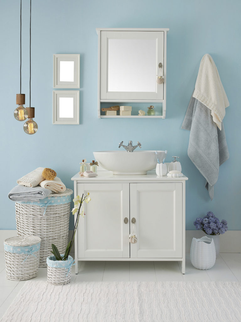 sky blue bathroom