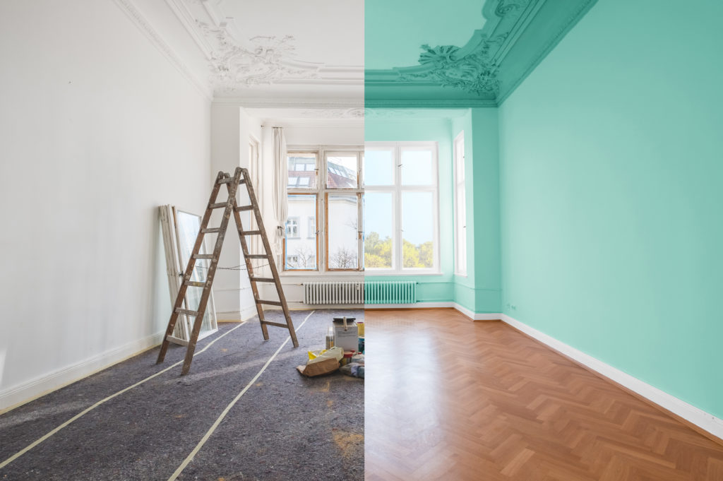 before and after statement ceiling with teal paint