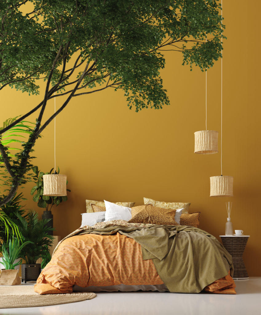 big tree in yellow bedroom