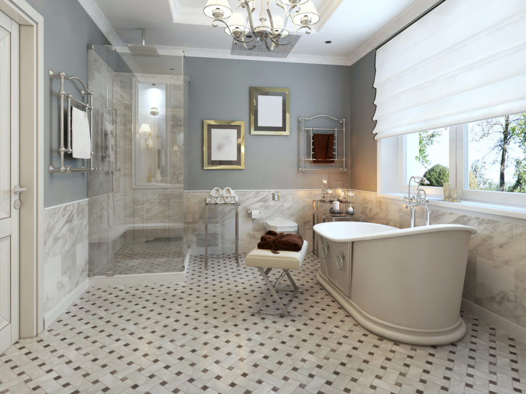 master bathroom with chandelier