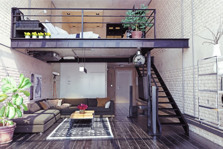 loft apartment white brick walls