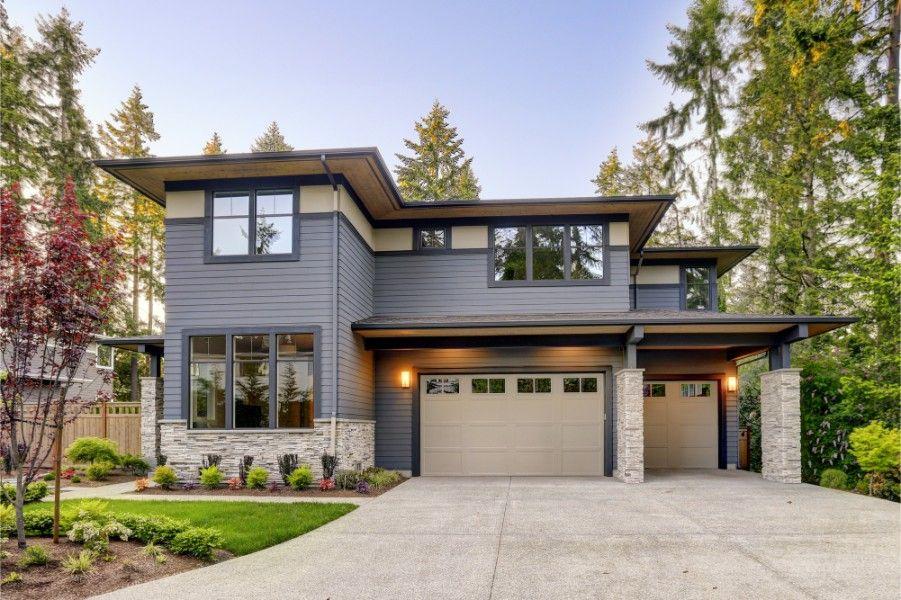 gray exterior beige garage door paintzen 1