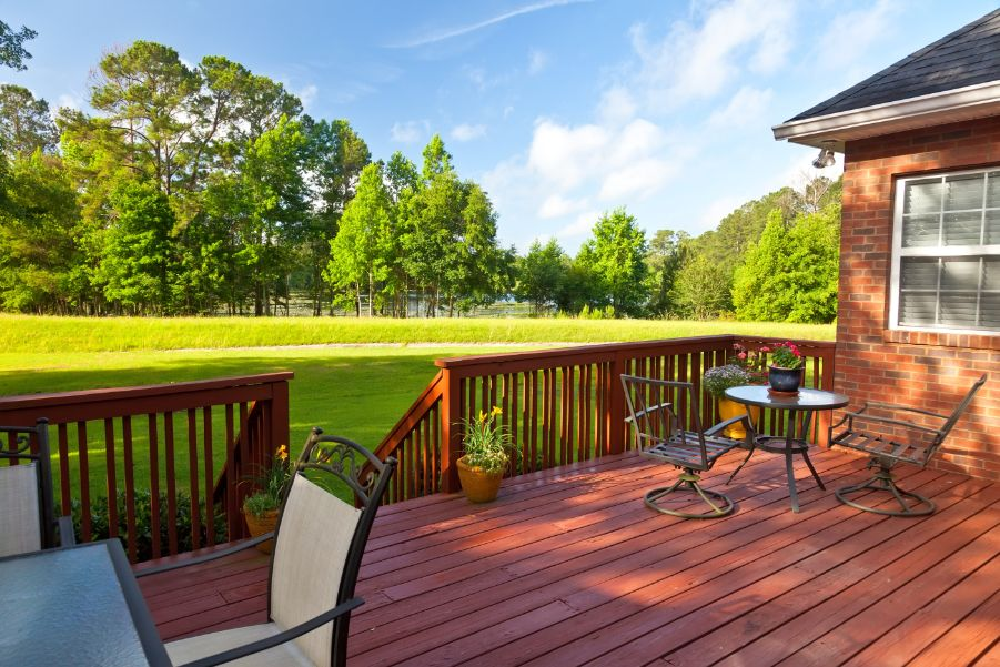 red brown deck in backyard